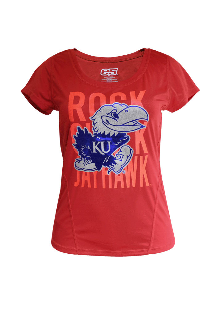 Kansas Jayhawks Juniors Red Runner`s World Tee Scoop T-Shirt - Image 1