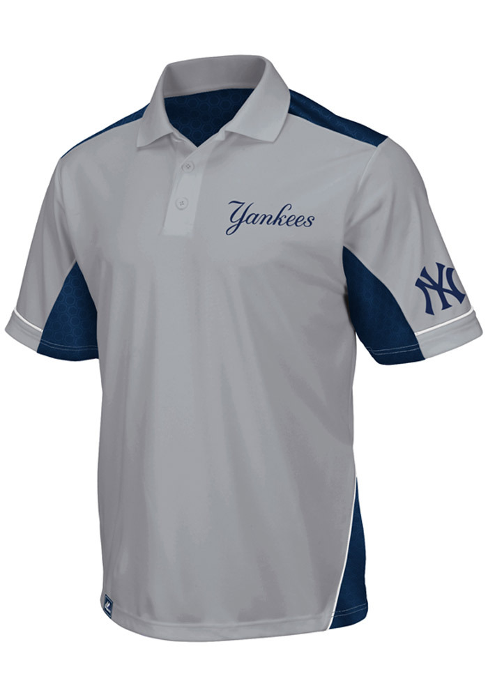 Majestic New York Yankees Mens Grey Victory Anthem Synthetic Short Sleeve Polo - Image 1