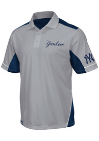 Majestic New York Yankees Mens Grey Victory Anthem Synthetic Short Sleeve Polo Shirt
