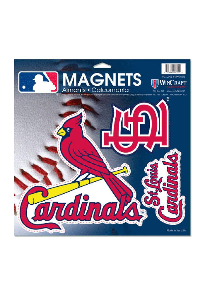 St Louis Cardinals 11x11 Multi Pack Car Magnet - Red - Image 2