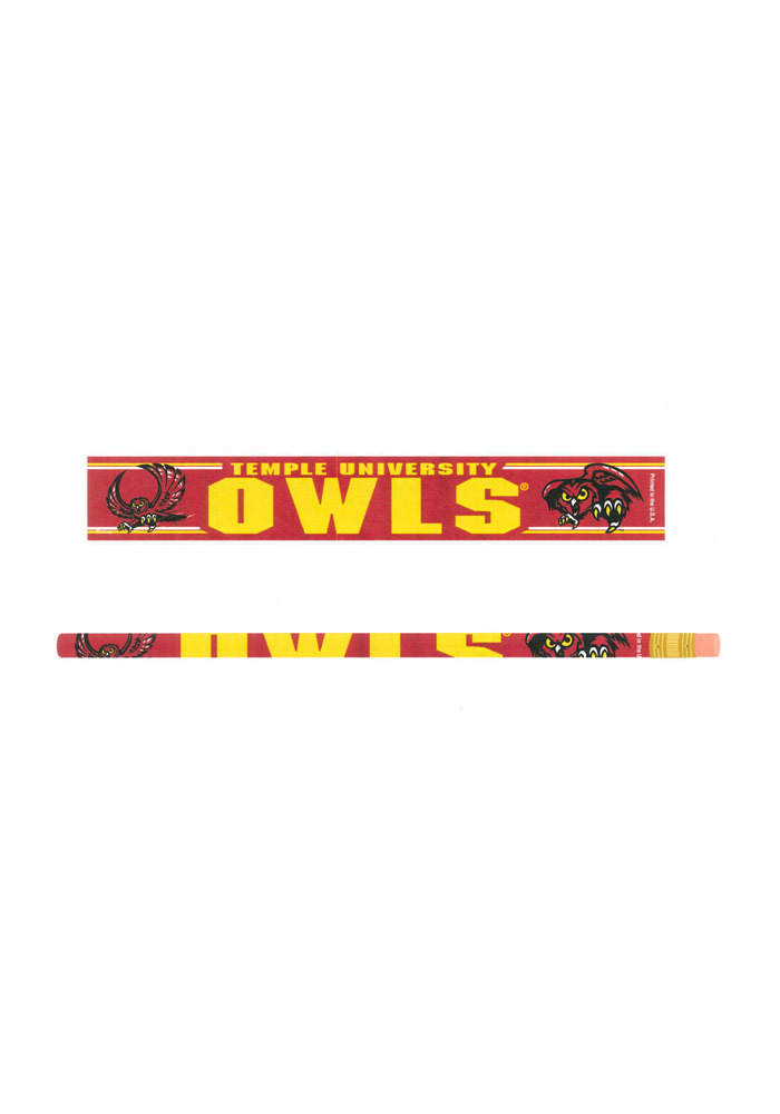 Temple Owls 6 Pack Pencil