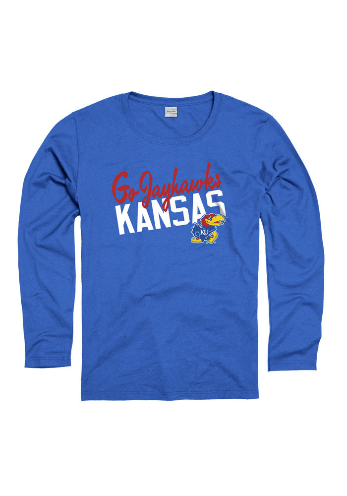 Kansas Jayhawks Womens Blue Spirit Phrase Long Sleeve Women's Crew - Image 1