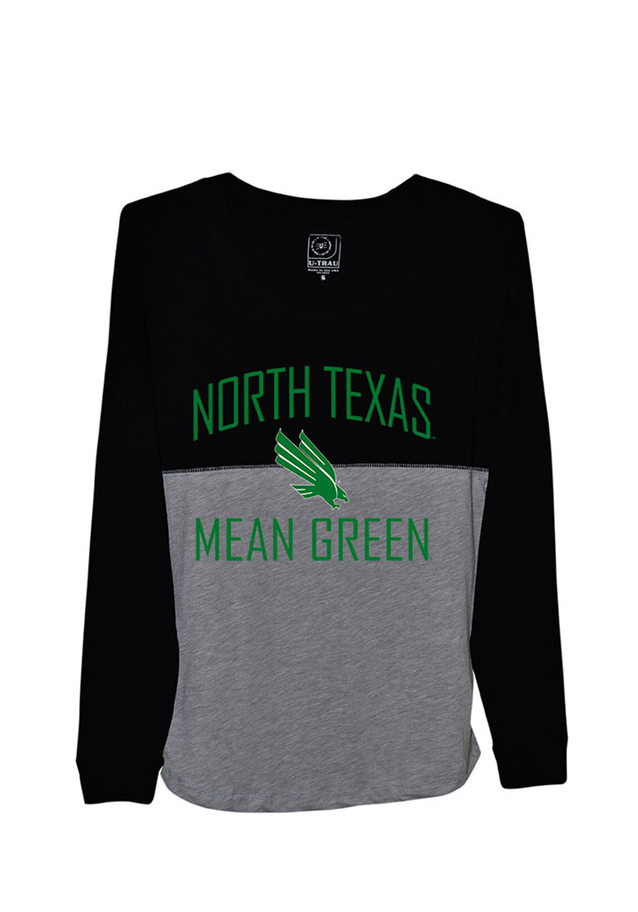 North Texas Mean Green Juniors Black Sideline Jersey LS Tee, Black, 100% COTTON, Size S