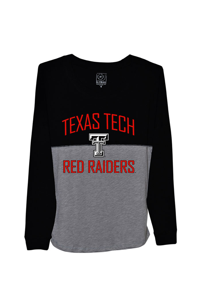 Texas Tech Red Raiders Juniors Black Sideline Jersey LS Tee, Black, 100% COTTON, Size L