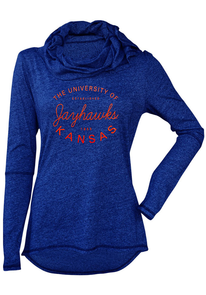 Kansas Jayhawks Womens Blue Jewel Cowl Hooded Sweatshirt - Image 1