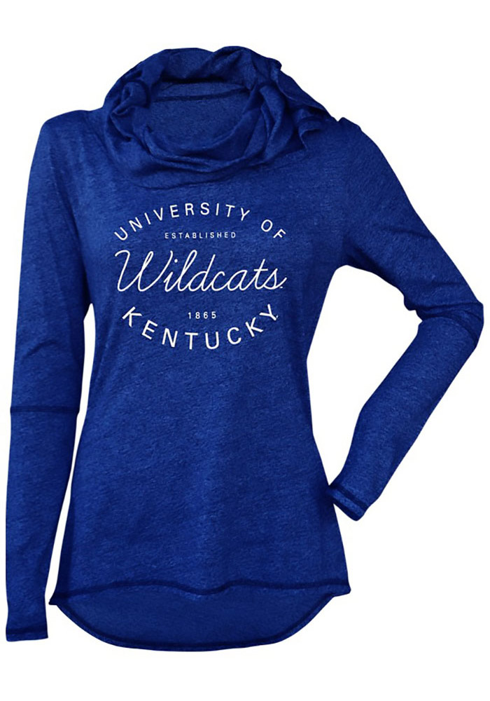 Kentucky Wildcats Juniors Blue Jewel Cowl Hooded Sweatshirt, Blue, 50 POLY/38 COT/12 RAY, Size S