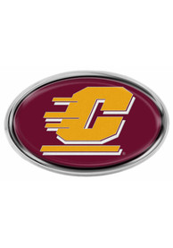 Central Michigan Chippewas Domed Oval Shaped Car Emblem - Maroon