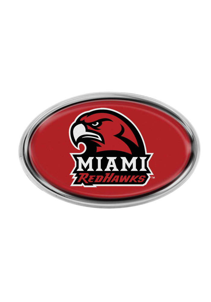 Miami Redhawks Domed Oval Car Accessory Car Emblem - Image 1