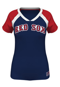 Majestic Boston Red Sox Womens Navy Blue Forged Classic Synthetic V-Neck