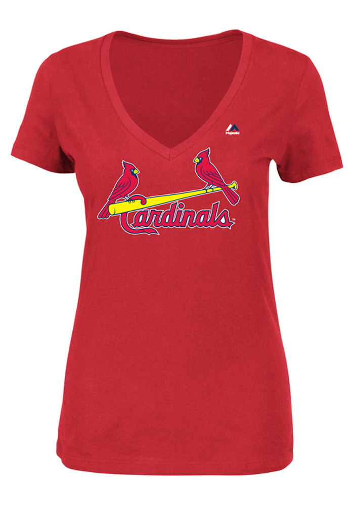 Majestic St Louis Cardinals Womens Red Wordmark V-Neck T-Shirt - Image 1