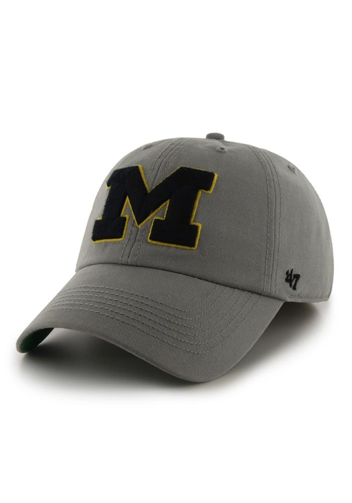 '47 Michigan Wolverines Mens Grey 47 Franchise Fitted Hat - Image 1