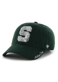 47 Michigan State Spartans Womens Green Sparkle Clean Up Adjustable Hat