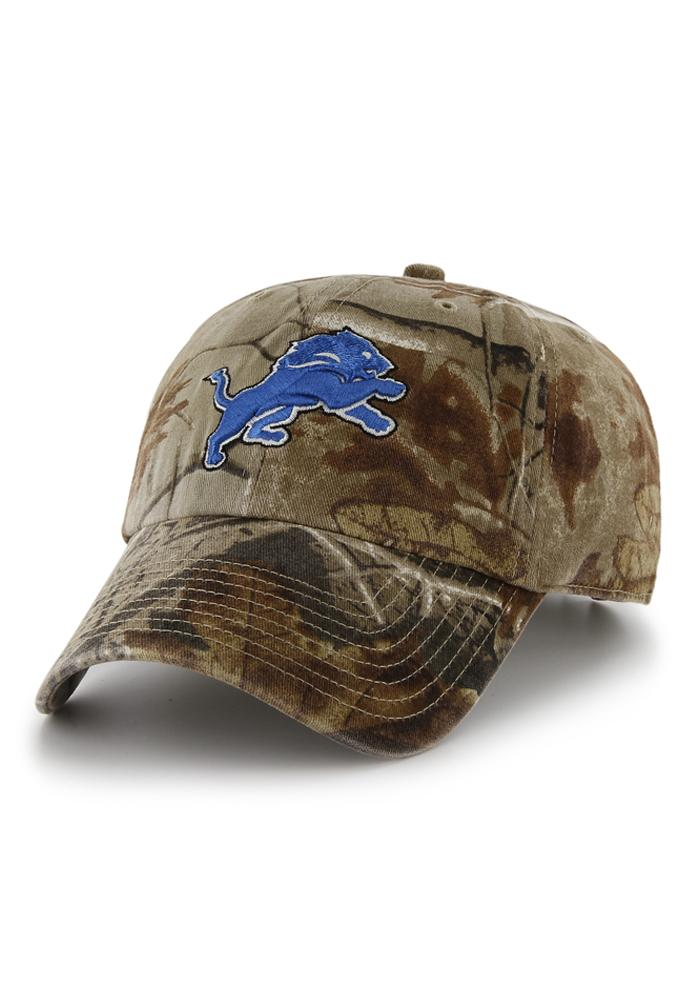 '47 Detroit Lions Mens Green Real Tree Camo Adjustable Hat - Image 1