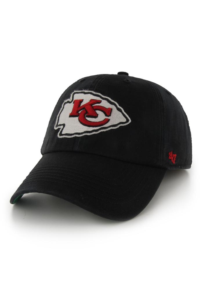 '47 Kansas City Chiefs Mens Black 47 Franchise Fitted Hat - Image 1