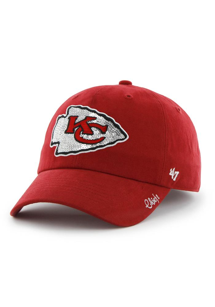 '47 Kansas City Chiefs Red Sparkle Clean Up Womens Adjustable Hat - Image 1