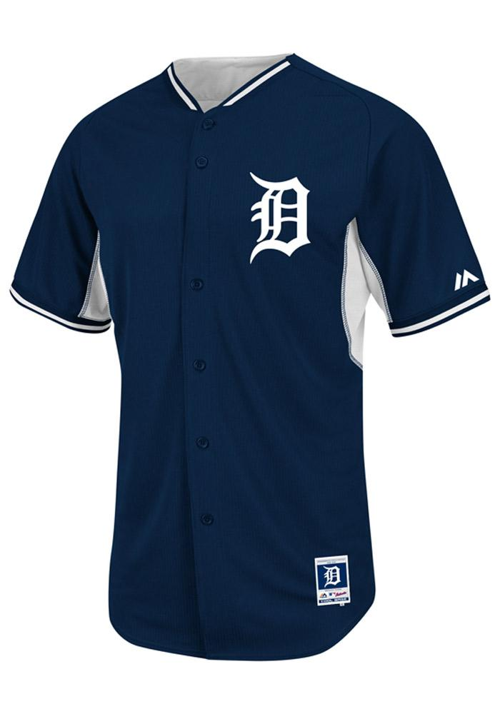 Detroit Tigers Mens Majestic Batting Practice Jersey - Navy Blue - Image 1