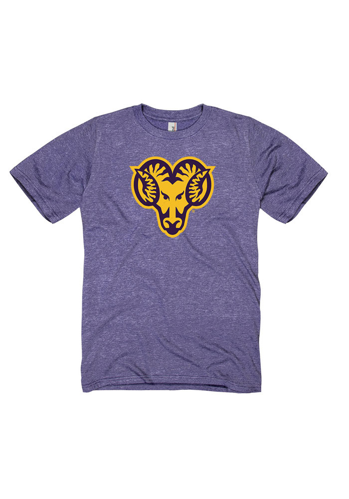 West Chester Golden Rams Mens Purple Big Logo Distressed Short Sleeve T Shirt, Purple, 55% COTTON / 45% POL, Size XL