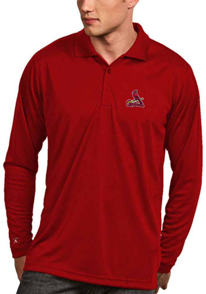 Antigua St Louis Cardinals Mens Red Exceed Long Sleeve Polo Shirt - Image 1
