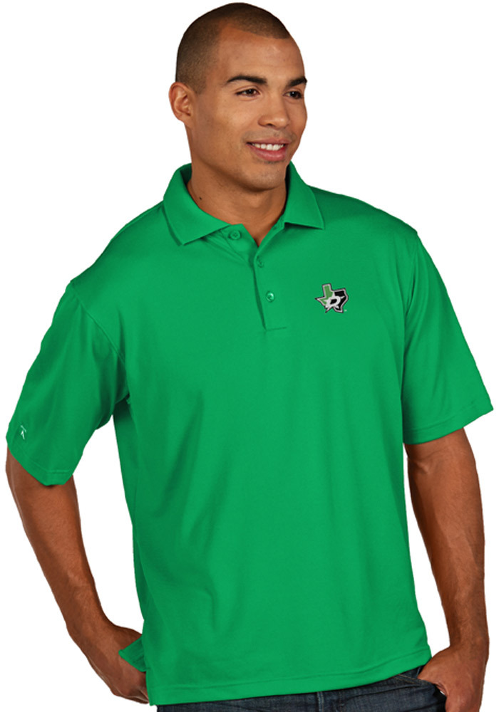 Antigua Dallas Stars Mens Green Pique Short Sleeve Polo - Image 1