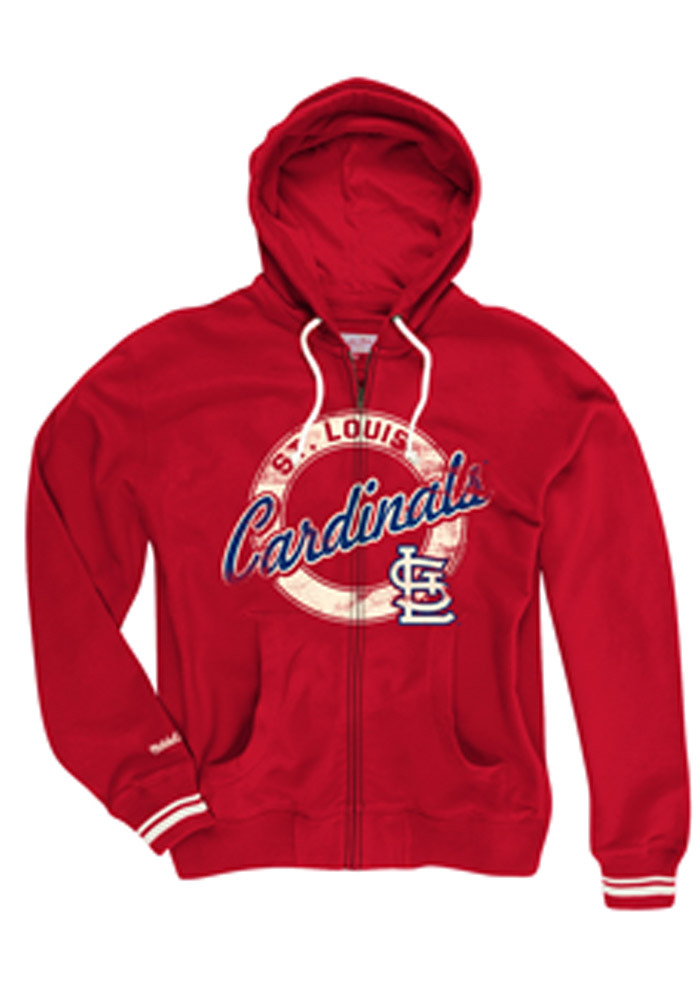 Mitchell and Ness St Louis Cardinals Mens Red Vintage Circle Long Sleeve Zip Fashion - Image 1