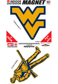 West Virginia Mountaineers 6x6 2 Pack Car Magnet - Gold