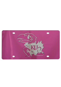 Kansas Jayhawks Pink Jayhawk Car Accessory License Plate