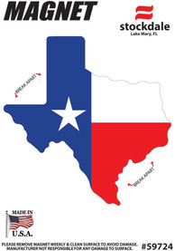 Texas State Shape Flag Car Magnet - Red