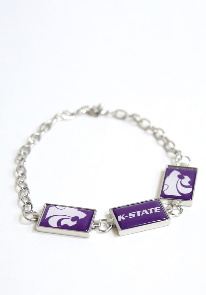 K-State Wildcats 3 Rectangle Charm Womens Bracelet - Image 1