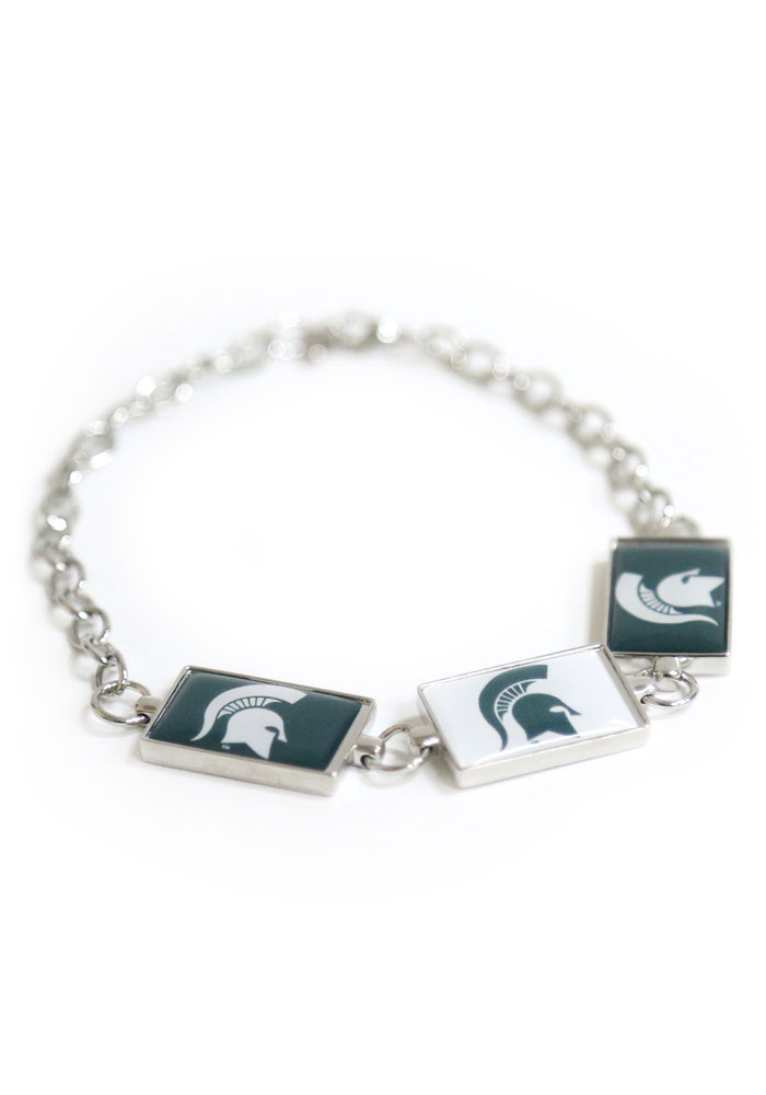 Michigan State Spartans 3 Rectangle Charm Womens Bracelet - Image 1