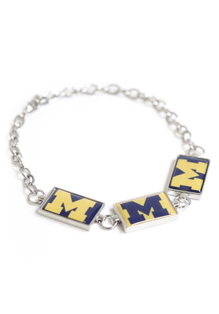 Michigan Wolverines 3 Rectangle Charm Womens Bracelet - Image 1
