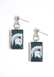 Michigan State Spartans Womens Rectangle Drop Earrings - Green