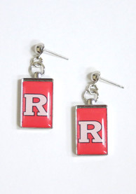 Rutgers Scarlet Knights Womens Rectangle Drop Earrings - Red