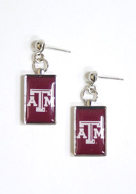 Texas A&M Aggies Womens Rectangle Drop Earrings - Maroon