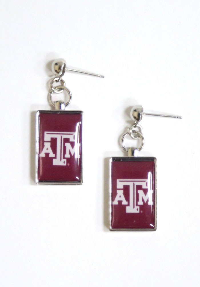 Texas A&M Aggies Rectangle Drop Womens Earrings - Image 1