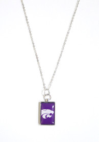 K-State Wildcats Womens Rectangle Charm Necklace - Purple