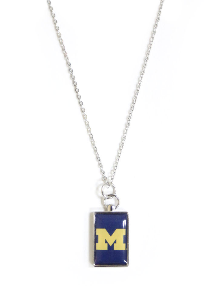 Michigan Wolverines Rectangle Charm Necklace - Image 1