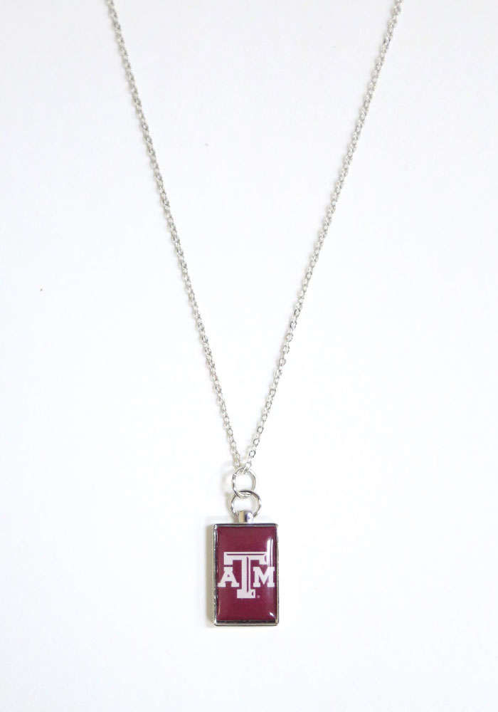 Texas A&M Aggies Womens Rectangle Charm Necklace - Maroon