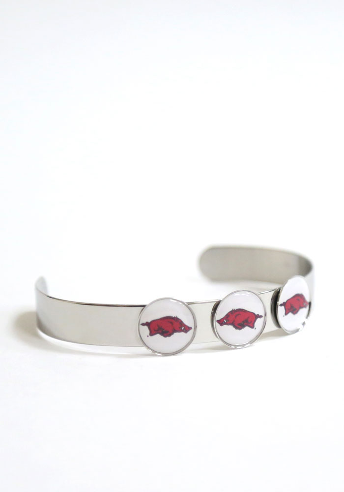Arkansas Razorbacks 3 Charm Bangle Womens Bracelet - Image 1