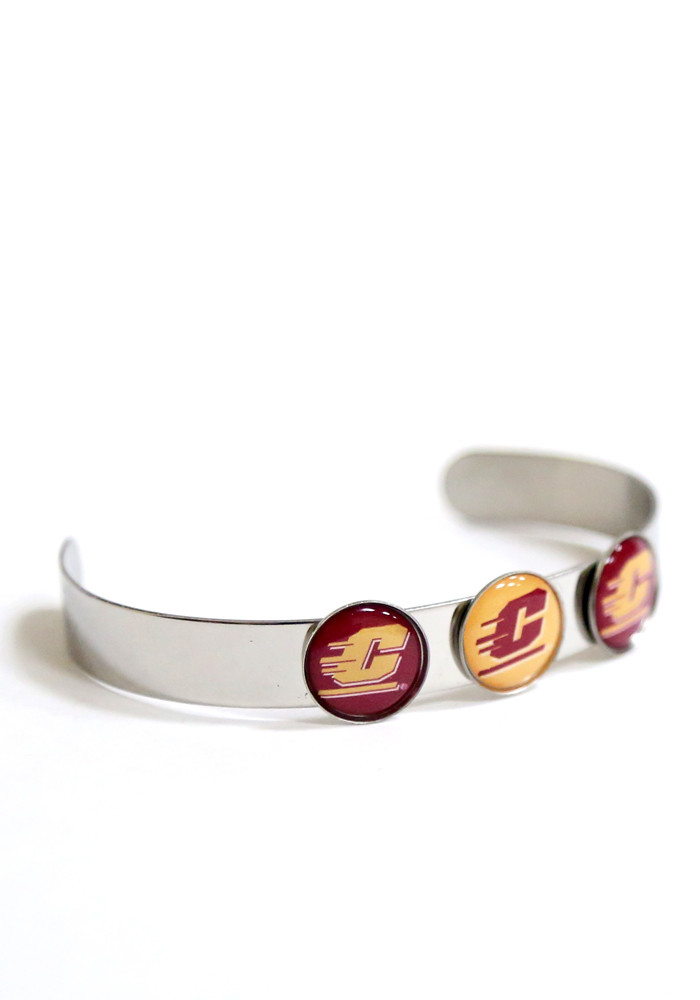 Central Michigan Chippewas 3 Charm Bangle Womens Bracelet - Image 1