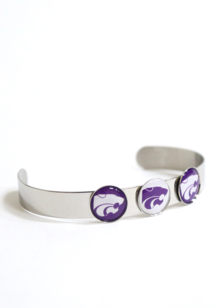 K-State Wildcats 3 Charm Bangle Womens Bracelet - Image 1