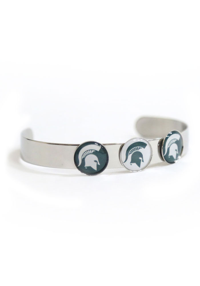 Michigan State Spartans 3 Charm Bangle Womens Bracelet - Image 1