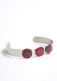 Temple Owls Womens 3 Charm Bangle Bracelet - Red