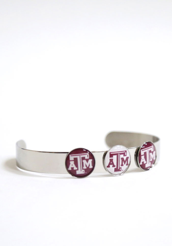 Texas A&M Aggies 3 Charm Bangle Womens Bracelet - Image 1