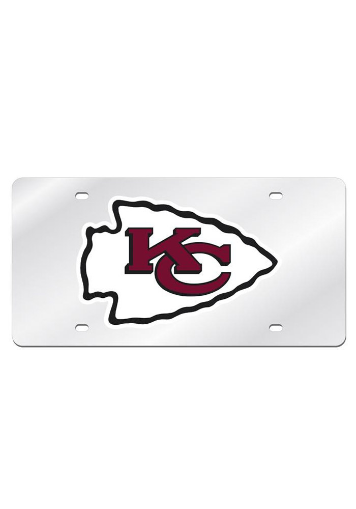 Kansas City Chiefs Silver Arcylic Car Accessory License Plate - Image 1