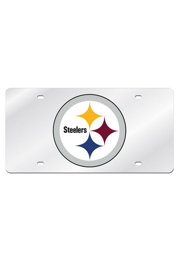 Pittsburgh Steelers Silver Arcylic Car Accessory License Plate - Image 1