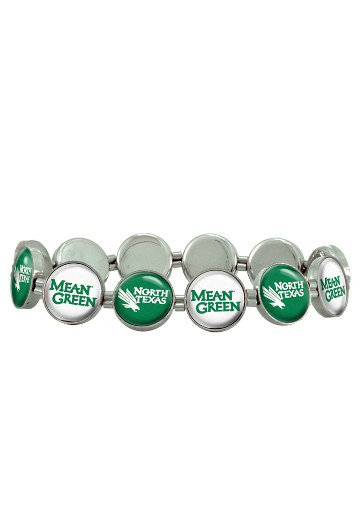 North Texas Mean Green 12 Charm Stretch Womens Bracelet - Image 1