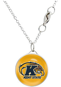 Kent State Golden Flashes Womens Drop Necklace - Silver