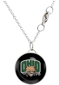 Ohio Bobcats Womens Drop Necklace - Silver