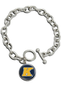 Kent State Golden Flashes Womens Single Drop Bracelet - Silver