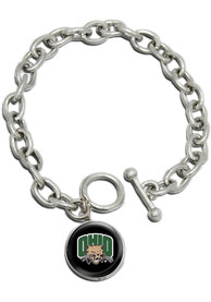 Ohio Bobcats Womens Single Drop Bracelet - Silver
